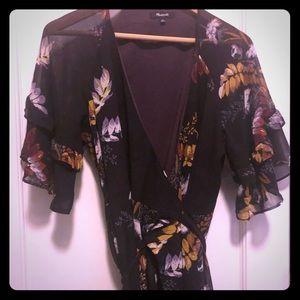 Madewell purple wrap dress. size Large